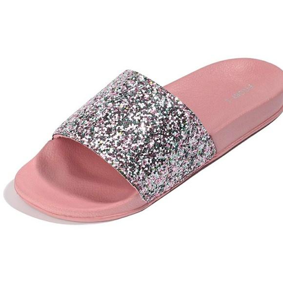 52780e5e1eb055 Cute Pink glitter bling sparkly slide sandals